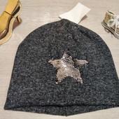 Германия!!! Очень мягкая демисезонная шапка со звездой из пайеток! 128-152!