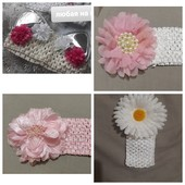 Нарядная повязка для волос розовая белая
