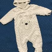 Теплий вілюровий чоловічок до 3 місяці зріст 62 см