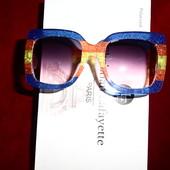 Большие, яркие квадратные солнцезащитные очки Gucci (реплика) с глитером, UV 400