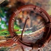 Оригинальный браслет любителям натур.материалов кожа, текстиль