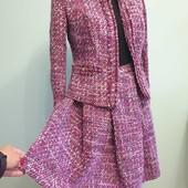 Новый твидовый костюм из качественной ткани, размер XS, S