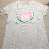 Польша!!! Лёгкая коттоновая футболка для девочки! 140 рост! 329 грн по ценнику!
