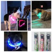 светящийся светлодиодный LED ошейник для собак.розовый цвет
