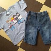 В отличном качестве/одним лотом/джинсовые шорты+футболка