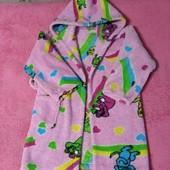Теплый халатик для девочки с капюшоном, на 4-5 лет. Без пояса.