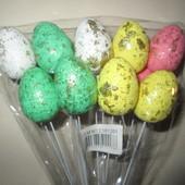 Набор Яйца декоративные 12 шт с глиттером на палочке 19 см