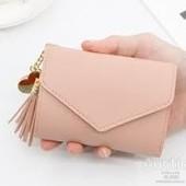 Женский кошелек Vintage розовый с кисточкой и сердечком