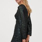 H&M Короткое платье из воздушного шифона с вышивкой из пайеток.