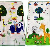 """Двухсторонний складной детский коврик EVA 180х120 в кейсе """" жираф ростомер, слоник """""""