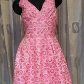 платье белое с розовыми цветами
