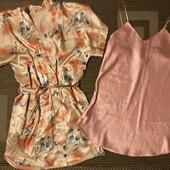 Атласний комплект халат та нічна сорочка на розмір С