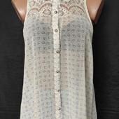 Свободная лёгенькая блузочка с кружевом и удлиненной спинкой,L/xl