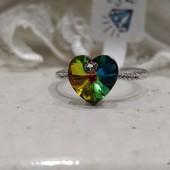 не пропустите! шикарное кольцо с фианитами и кристаллами Swarovski, р. 19, родий