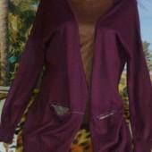 Бордовый кардиган с карманами и на пуговицах. ПОГ 59 см.