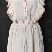 Классное пудровое платье с кружевом от Miss Selfridge, вискоза,s/m