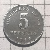 Монета Германии 5 пфенингов 1918