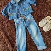 Джинсы для девочки 34годика+ джинсовый пиджак