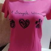 Женская классная футболочка.Малинового цвета.Размер 40-50