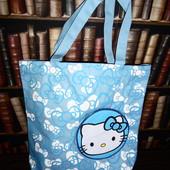 Большая голубая сумочка для юной модницы Hello Kitty, шоппер, сумка для прогулок, дорожная