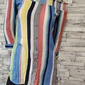 Роскошная блуза полоска плечи на резинке Новая сток