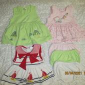 Три платья с трусиками+ пиджачок и панамки в подарок