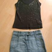 Джинсовая юбка и в подарок майка черная в пайетки, размер м-л
