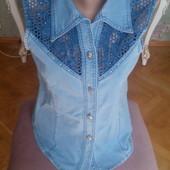 !!!Джинсовая рубашка без рукавов,размер L!
