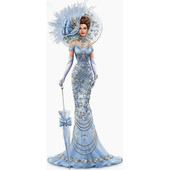 """Алмазная вышивка """"Дама в голубом"""". Полная выкладка"""