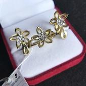 Красивый набор позолота 585(лимонное золото) фианиты кольцо р. 18