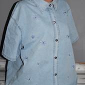 классная джинсовая рубашка, батал, 66см пог, качество отличное