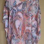 Тонкая летняя туника / блуза-пончо...Ткань типа шифон...р свободный ...Пог 80.