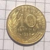 Монета Франции 10 сантимов 1995
