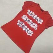 Яркая футболка , цветочный принт на девочку 9-10 лет