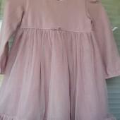 Фирменное пудровое платье для малютки 12-18мес.