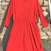 Ярко оранжевое трикотажное платье.есть нюанс
