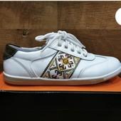 Кожаные кроссовки-туфли B&G на молнии Р.36