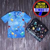 """Супер стильная футболка-варенка со светящимся рисунком """"Among us"""