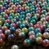 Бусинки разноцветные 6мм. лот 30шт.
