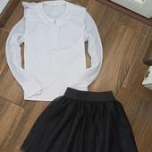 комплект для школы 9-10 лет,блузка и фатиновая юбочка