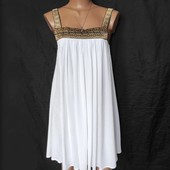 Лёгкое свободное белое платье/сарафан с золотой вышивкой