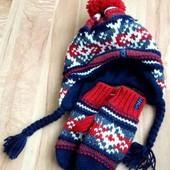 Набор/комплект Шапка + варежки/рукавицы на флисе на 7-10 лет Зима