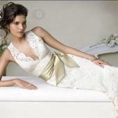 Шикарное Свадебное платье Айвори с нежным кружевом шлейфом и Push-up уп 15%, нп 5% скидка!