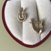 Серебро 925 с позолотой серьги с фианитами