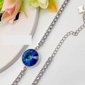 новинка! шикарный браслет с кристаллом Swarovski и фианитами, родий