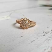 """Позолоченное кольцо """"Солнечный цветок"""" p.17,5 позолота 585 пробы 18 карат"""