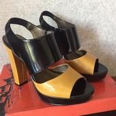 Летние открытые туфли-босоножки на каблуке, натуральная кожа
