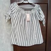 Фирменная новая красивая летняя блуза р.16-18 коттон 76%.