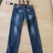 Фирменные дорогие джинсы стрейч с подтяжками на 7-9 лет