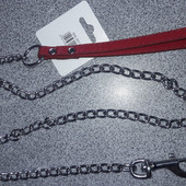 Поводок-цепь с кожаной ручкой